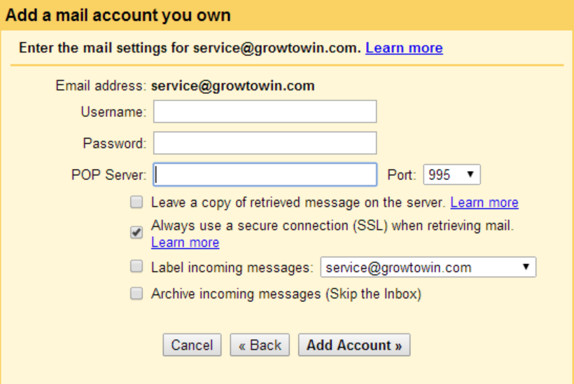 Add a mail account you own Gmail
